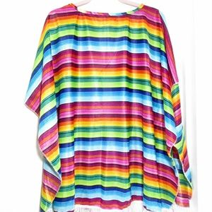 Serape Print Fringed Swimsuit Cover Poncho OS
